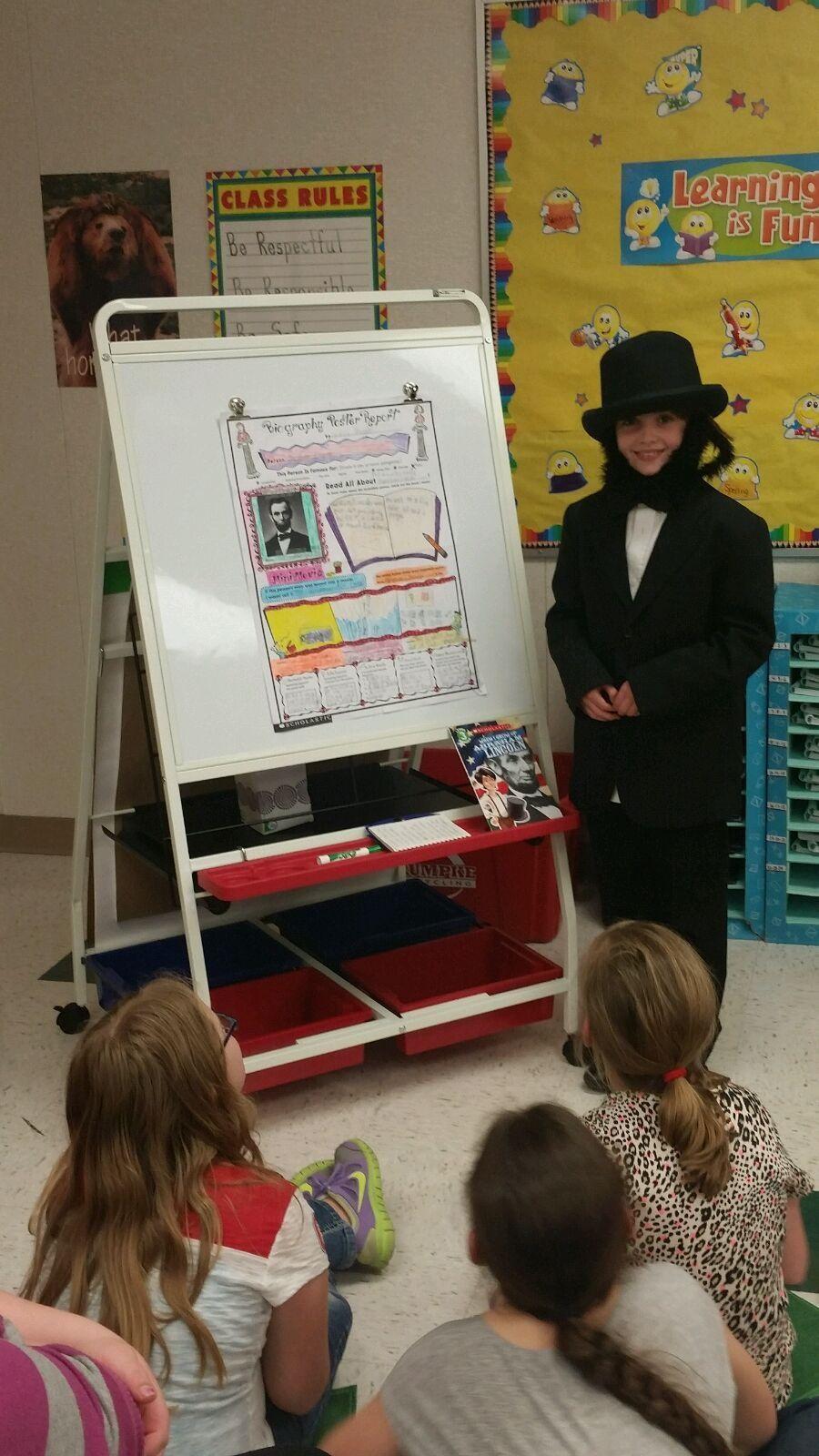 Third-grader Gracie Stingle's biography presentation