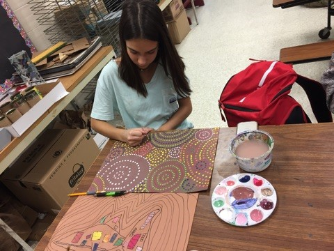 Student completes Aboriginal dot painting