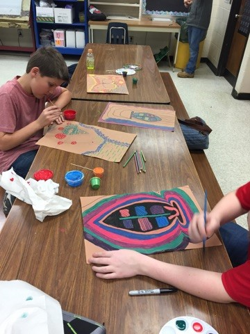 Students complete Aboriginal dot and x-ray paintings