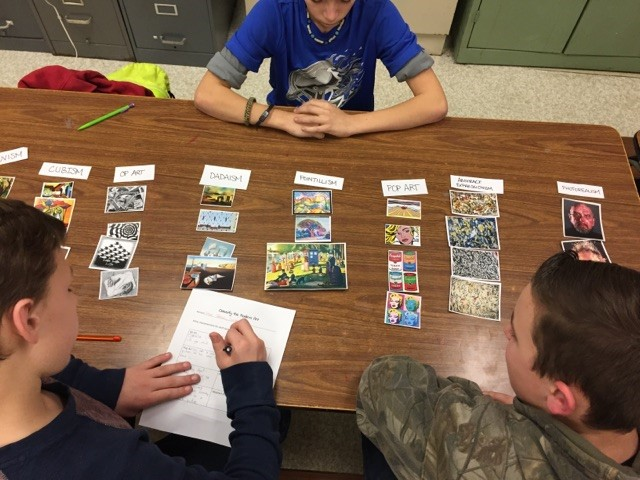 Students discuss similarities and differences in various art movements