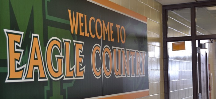 eagle country sign in hallway