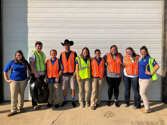 MP FFA Community Service Project - picking up trash and debris along Route 38