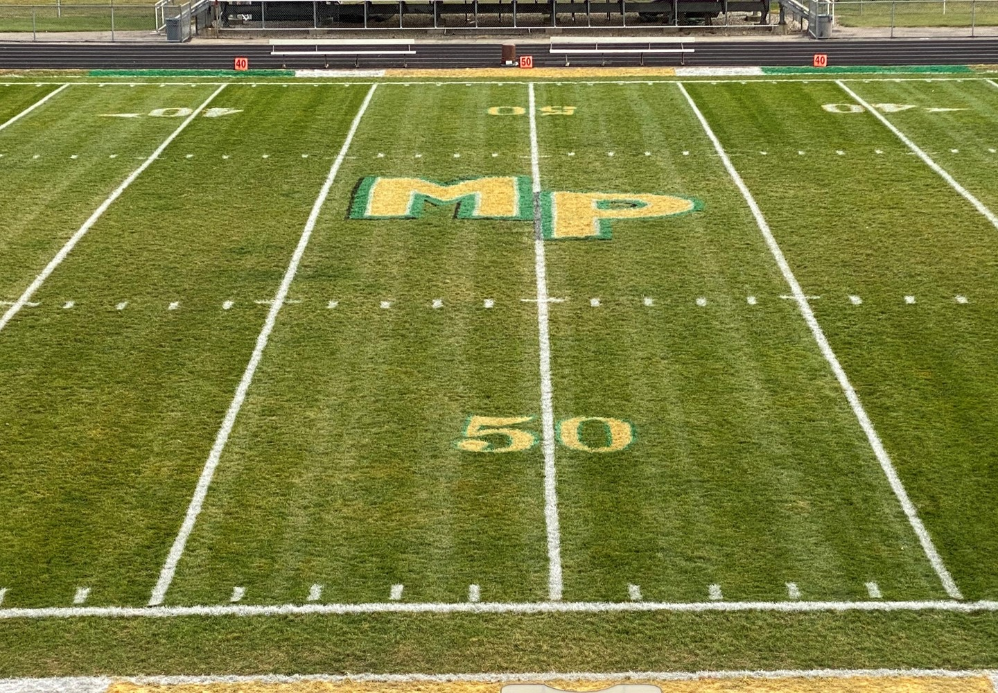 Football field showing the MP and the 50 yard line