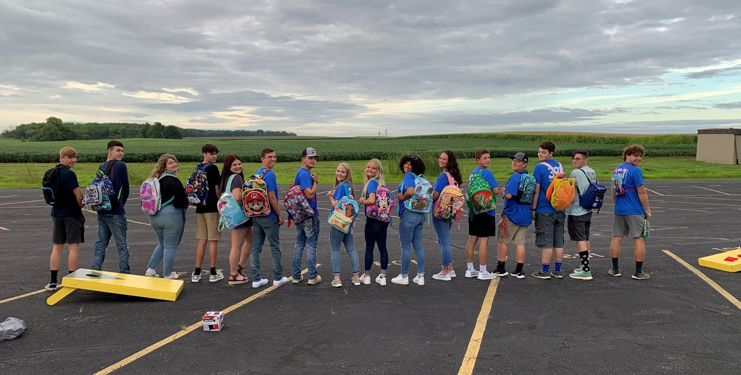 Senior students with their backpacks