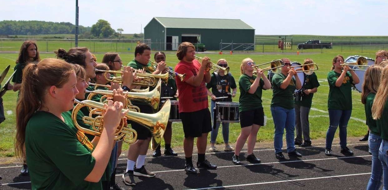 The band practicing before the game